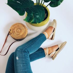 Shoes - ✨Abby Cream Canvas Lace Up Espadrilles